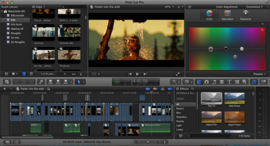 Interface de traitement vidéo Final Cut pro utilisé par Arobase Studio