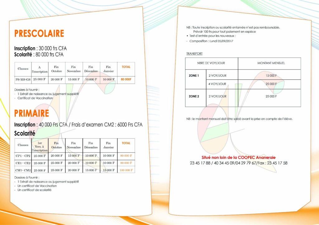 Fiche de renseignement pour les préscolaires de l'institut de formation Azing Ivoir