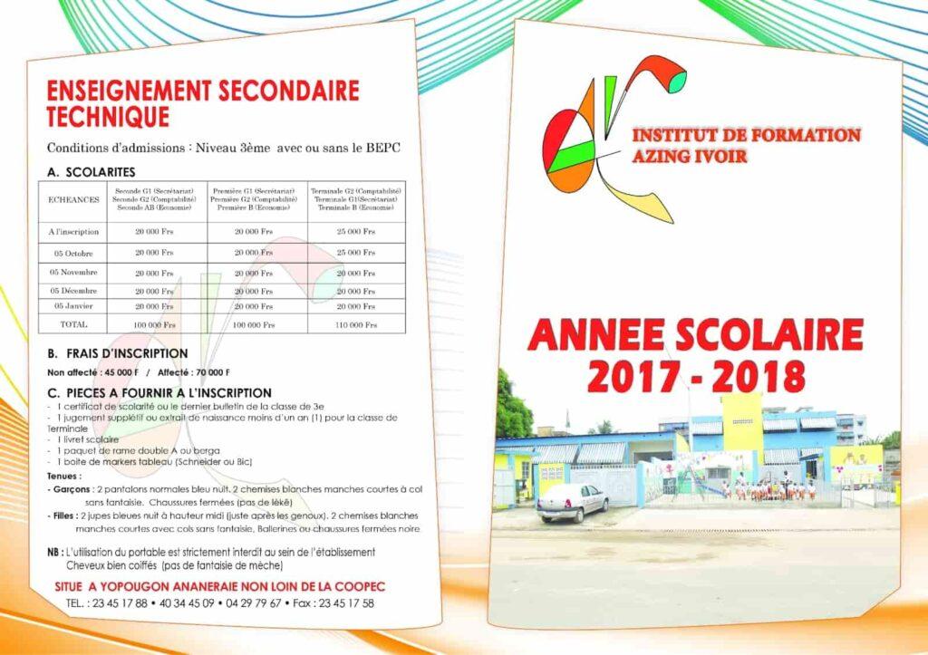 Fiche de renseignement pour les secondaires ou techniques de l'institut de formation Azing Ivoir