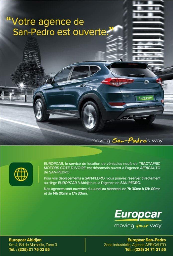 Affiche du service de location Europcar de Tractafric Motors à San-Pedro