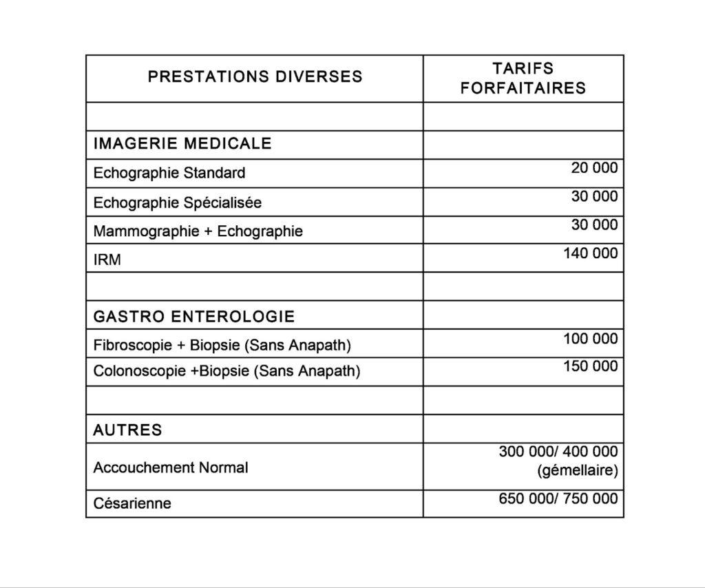 Tarif des prestations diverses de l'hôpital mère enfant Dominique Ouattara